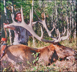 Bowhunter with a 6x6 Bull Elk scoring 344 P&Y.