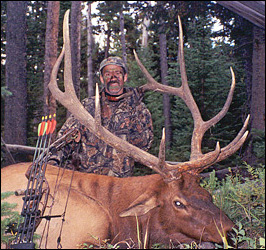 Bowhunter with a 6x6 Bull Elk scoring 348 P&Y.