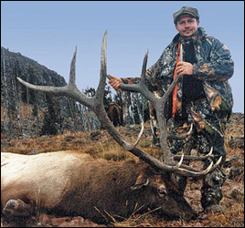 Hunter with bull elk scoring 346 Boone & Crockett taken in the Absaroka-Beartooth Wilderness