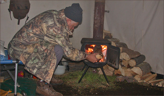 Wood Stove in Elk C& Tent & Elk Camp - Montana Elk Hunting